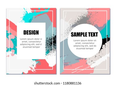 Set of two colorful vector templates. Created with hand made spots of paint. Can be used as design for flyers, banners,  cards, posters and another polygraphic products