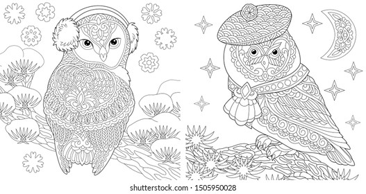 Set of two colouring pictures with owls in cute winter hats. Freehand coloring page with doodle and zentangle elements.