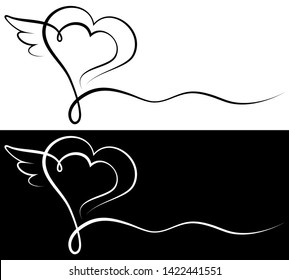Set Of Two Condolence Cards Heart With Wing Black And White