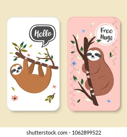 Set of two covers with cute baby sloths hanging on the tree. Hello and Free hugs illustrations with adorable cartoon animals, tree branch, floral elements. Vector graphics