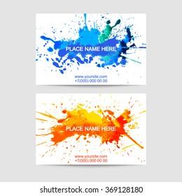 Set of two creative business visit card templates. Artistic splash paint design.