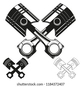 Set of two crossed engine pistons. Vector illustration.