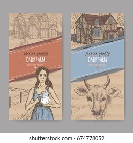 Set of two dairy farm shop labels with traditional farmhouse, milkmaid and cow. Placed on cardboard texture. Includes hand drawn elements.