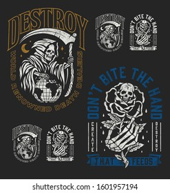 A set of two edgy tattoo style illustration graphic designs for t-shirts or other merchandise. Grim Reaper and Hand holding rose