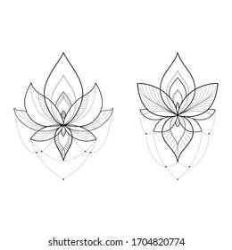 Set of two ethnic Mandala ornaments isolated on white background. Henna tattoo design. Vector illustration
