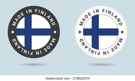 Set of two Finnish stickers. Made in Finland. Simple icons with flags.