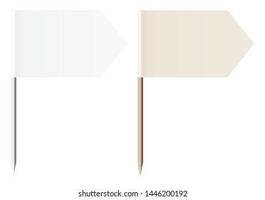 Set Of Two Flag Pins Arrows White And Beige Metal And Wood