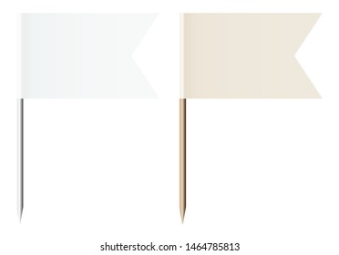 Set Of Two Flag Pins White And Beige Metal And Wood
