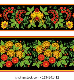 Set of two floral seamless border patterns in traditional Russian khokhloma painting style, vector illustrations.