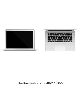 Set of two from a front and top view sides realistic white laptops isolated on white background. Opened lid.