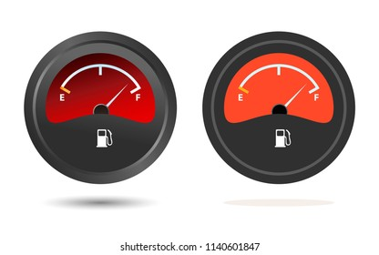 Set of two Fuel gauge icons, flat and shades.