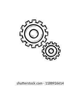 Set of two gears hand drawn outline doodle icon. Mechanics and cogs, engineering and mechanism concept. Vector sketch illustration for print, web, mobile and infographics on white background.