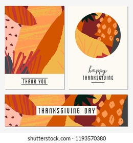 A set of two greeting cards and a banner for Thanksgiving Day. Autumn design with abstract shapes and leaves in orange, yellow, pink, red and brown.