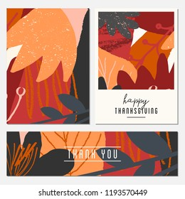 A set of two greeting cards and a banner for Thanksgiving Day. Autumn design with abstract shapes and leaves in orange, gray, pink, red and brown.