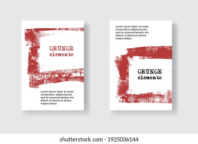 Set of Two Grunge Flyer Templates. Brochure or Banner Design Template. Abstract Modern Background. Grunge Blue and White Distress Texture.