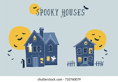 Set of two halloween spooky houses vector illustrations. Each element on a different layer