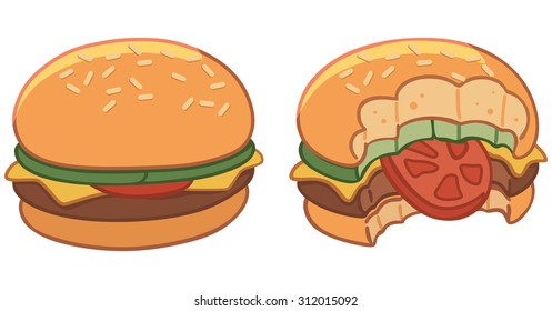 Set of two hamburgers, hamburger bitten