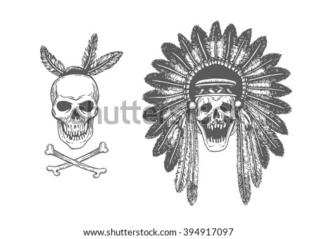 b32648c17 Set of two Hand Drawn American Indian Headdress With Human Skulls. Vector  Monochrome Illustration with ethnic elements isolated on white background.