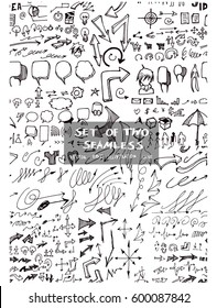 Set of two Hand drawn seamless doodle pattern with business symbols