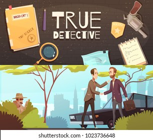 Set of two horizontal banners with doodle style flat images of detective accessories and story episode  vector illustration