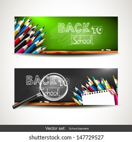 Set of two horizontal banners with school supplies on the chalkboard