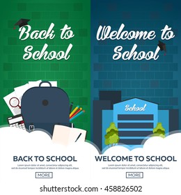 Set of two horizontal banners with school supplies. Back to School. Welcome to School