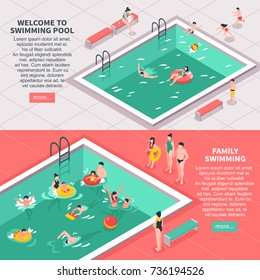 Set of two horizontal isometric family swimming pool banners with editable text and read more button vector illustration