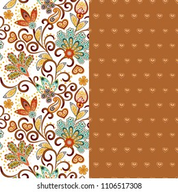 Set of two horizontal seamless floral pattern with paisley and fantasy flowers border. Hand drawn texture for clothes, bedclothes, fabric of the dress etc. Brown