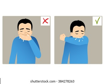 Set of two images with boy sneezing in hand and elbow, what is right and wrong, vector image