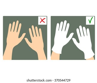 Set of two images with hands with and without gloves, what is right and wrong, vector image