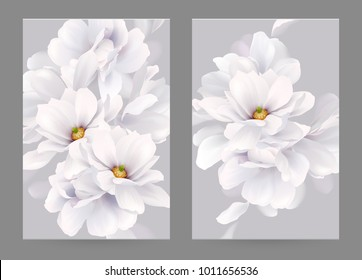 Set of two invitation or congratulation cards with elegant flower composition. Blooming white magnolias formed composition on the backgrounds.