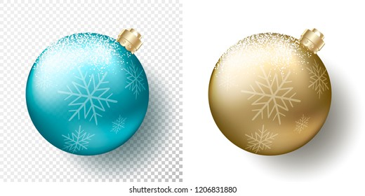 Set two isolated Realistic Christmas transparent Baubles, spheres or balls in metallic golden and blue color with snow, snowflakes pattern, gold decorative caps and shadow. Vector illustration eps10