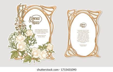 Set of two labeles, decorative frame, border with rose in art nouveau style, vintage, old, retro style. Tamplate, good for product label with place for text. Colored vector illustration