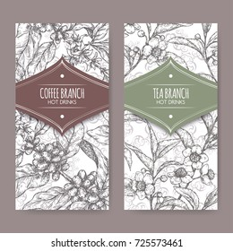 Set of two labels with tea and coffee branch sketch. Hot drinks collection. Great for cafe, bars, coffee ads.