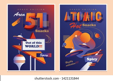 Set of two mid century modern retro Futurism flyer ad templates for snacks in vibrant contrasting colors with ufo flying saucers
