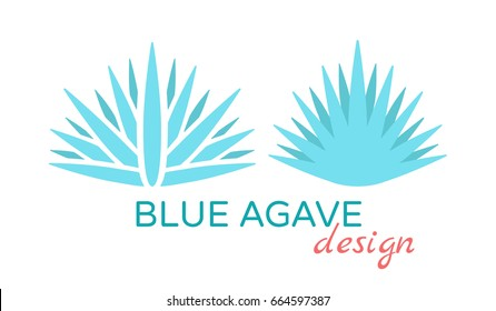 A set of two minimalistic logotypes of blue agave - the plant used for tequila production. Alcohol and pharmacy. Geometric and stylish icons