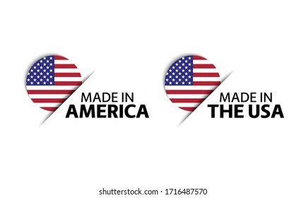 Set of two modern vector American stickers. Made in USA. Simple icons with American flags isolated on a white background
