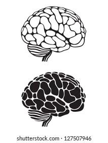 set of two monochrome human brain illustrations