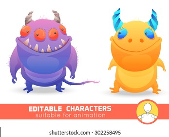 Set  of two monsters with horns. Neutral, negative or positive editable character. Suitable for animation, video and games. You can change color, position of body parts, dress and size.