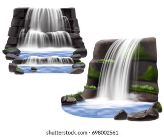 Set of two natural landscape scene for park garden and computer game design with waterfalls rocks and stones realistic isolated vector illustration