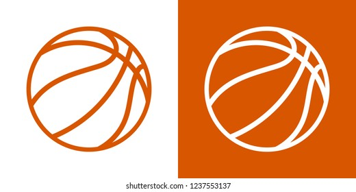 A set of two options for simple icons, contour, balls for basketball. On a white and orange background. Basket, mesh. 10 eps