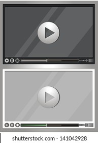 A set of two options video player. White and black. vector illustration