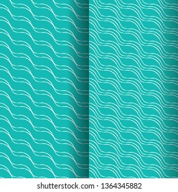 a set of two organic repeating lines patterns in cool green color palette for textile, fabric, wallpaper, backdrops, covers, posters and surface design templates. pattern swatches at eps. file