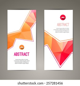 Set of two polygonal geometric banners backgrounds for modern design