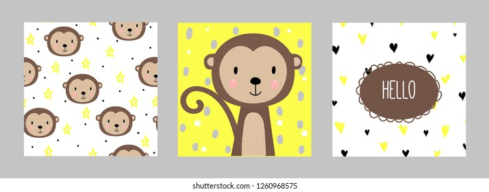 Set of two postcards and one seamless pattern with cute monkey. For print. Funny funny monkey. Hand-drawn.