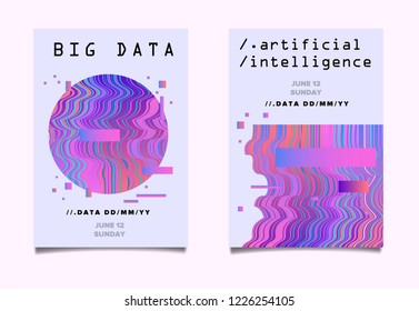 Set of two posters for AI (artificial intelligence) conference, Big Data meetup, Hackathon with Glitch Art Minimal Geometric Composition.