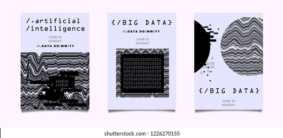 Set of two posters for AI (artificial intelligence) conference, Big Data meetup, Hackathon. Glitch Art Minimal Geometric Composition, Cyberpunk style illustration.