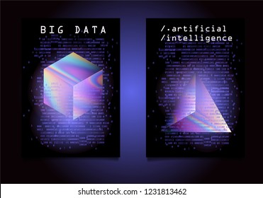 Set of two posters for AI (artificial intelligence) conference, Big Data meetup, Hackathon. 3D Holographic Cube and Prism with binary lines of code glowing in the dark. Cyberpunk/ synthwave style.