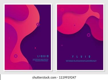 Set of two posters with fluid shapes and colors. trendy layout with place for text.