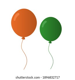 A set of two realistic air balloons of green and orange color. Can be used for St. Patrick's Day decor, greeting cards, children's decor